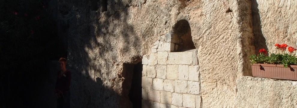Empty tomb, garden near Golgatha